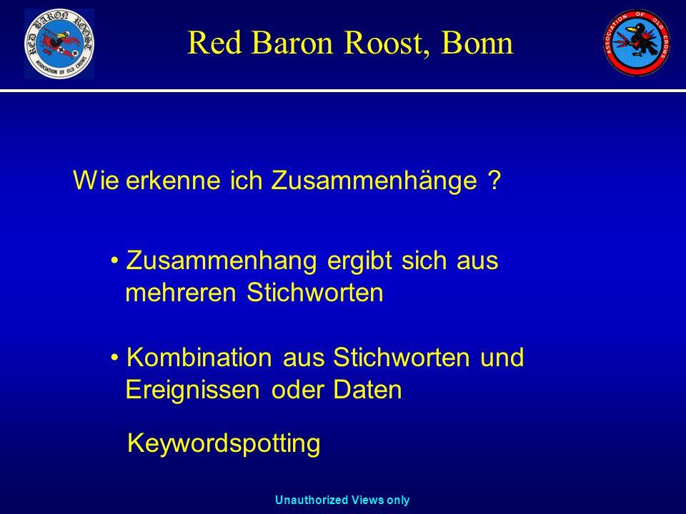 Unauthorized Views only Red Baron Roost, Bonn Wie erkenne ich Zusammenhänge .