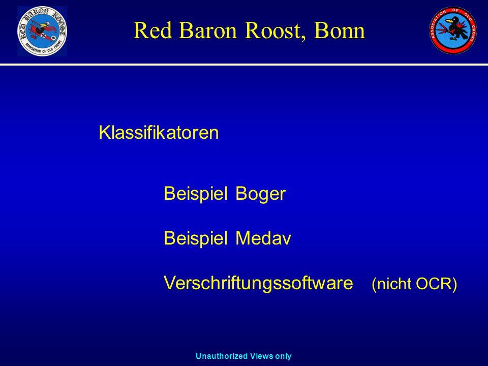 Unauthorized Views only Red Baron Roost, Bonn Beispiel Boger Beispiel Medav Klassifikatoren Verschriftungssoftware (nicht OCR)