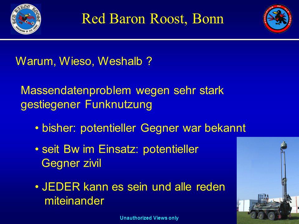 Unauthorized Views only Red Baron Roost, Bonn Warum, Wieso, Weshalb ? Massendatenproblem wegen sehr stark gestiegener Funknutzung bisher: potentieller