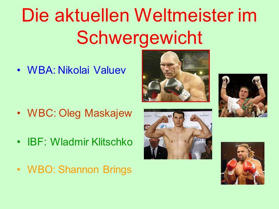 Die aktuellen Weltmeister im Schwergewicht WBA: Nikolai Valuev WBC: Oleg Maskajew IBF: Wladmir Klitschko WBO: Shannon Brings