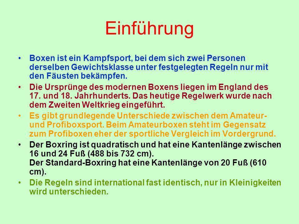 Einführung Boxen ist ein Kampfsport, bei dem sich zwei Personen derselben Gewichtsklasse unter festgelegten Regeln nur mit den Fäusten bekämpfen. Die