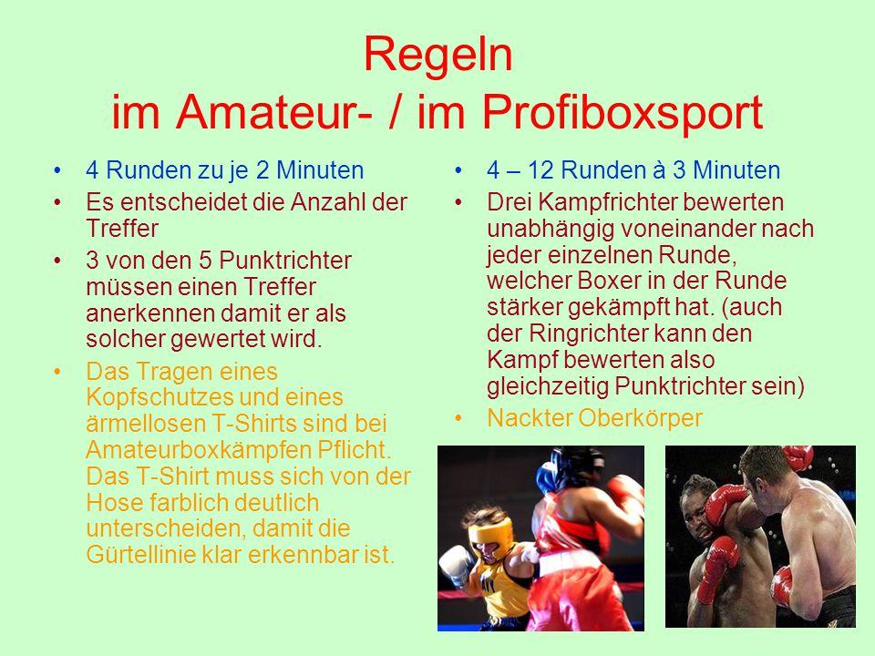 Regeln im Amateur- / im Profiboxsport 4 Runden zu je 2 Minuten Es entscheidet die Anzahl der Treffer 3 von den 5 Punktrichter müssen einen Treffer ane