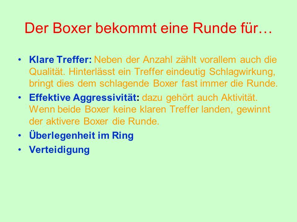 Der Boxer bekommt eine Runde für… Klare Treffer: Neben der Anzahl zählt vorallem auch die Qualität. Hinterlässt ein Treffer eindeutig Schlagwirkung, b