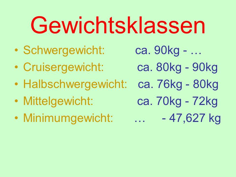 Gewichtsklassen Schwergewicht: ca. 90kg - … Cruisergewicht: ca. 80kg - 90kg Halbschwergewicht: ca. 76kg - 80kg Mittelgewicht: ca. 70kg - 72kg Minimumg