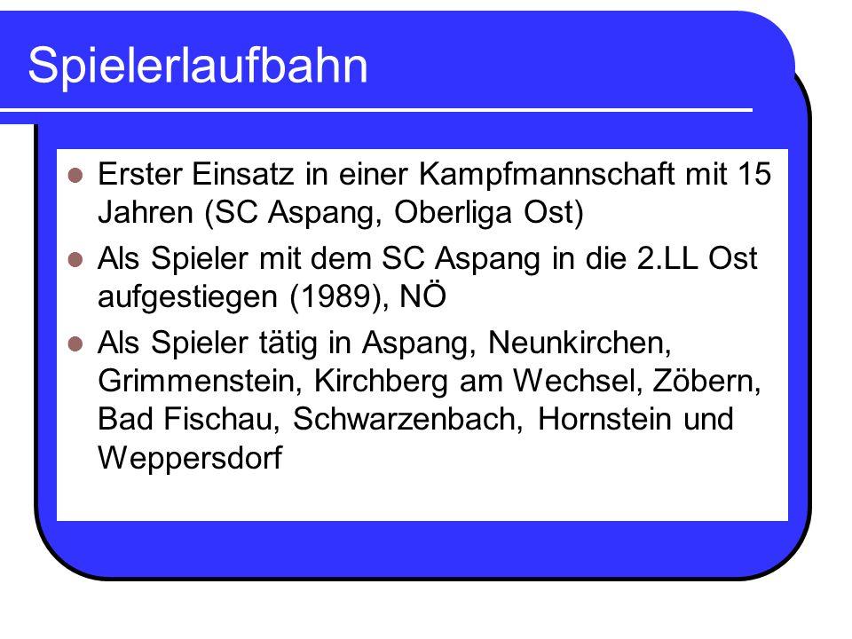 Trainerlaufbahn Ausbildung: UEFA A-Lizenz 3 Jahre als Nachwuchstrainer beim SC Aspang (2x Meister) Spielertrainer beim SC Zöbern (beste Vereinsplatzierung 3.