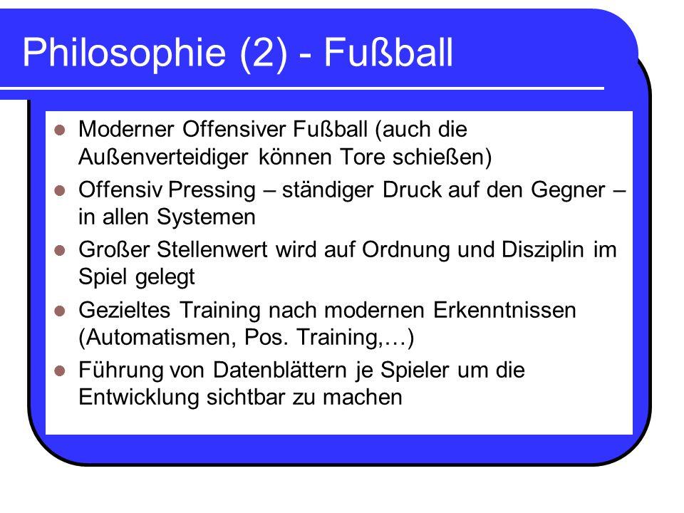 Philosophie (2) - Fußball Moderner Offensiver Fußball (auch die Außenverteidiger können Tore schießen) Offensiv Pressing – ständiger Druck auf den Geg