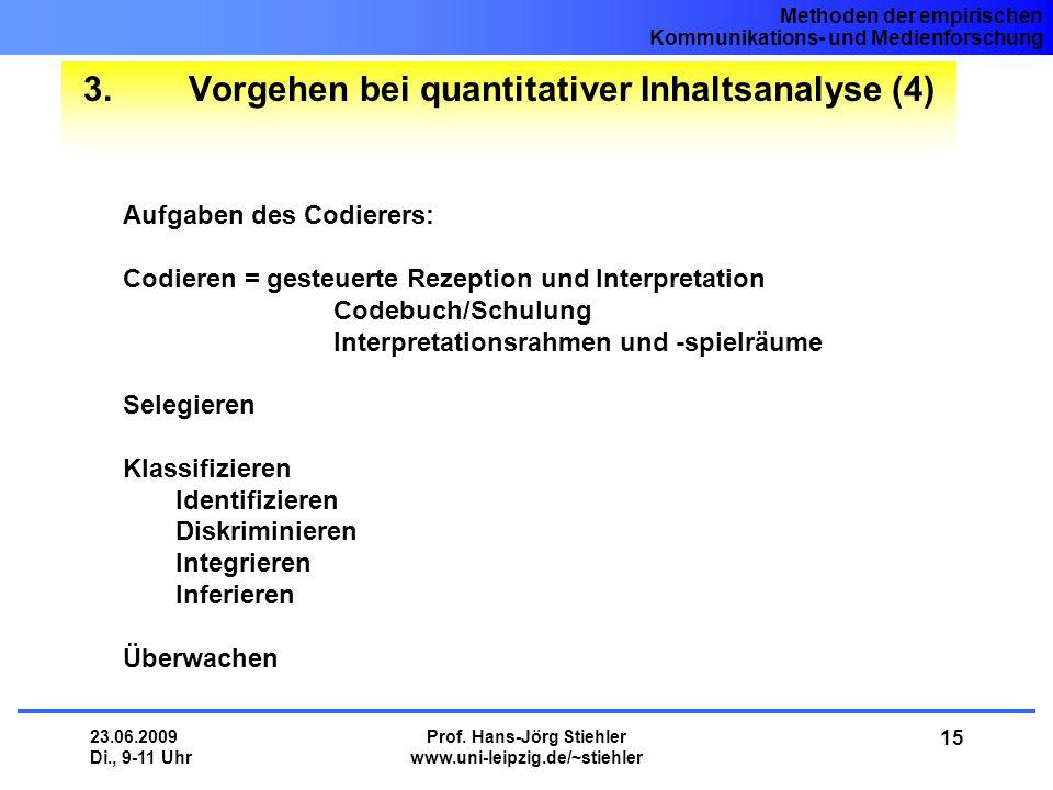 Methoden der empirischen Kommunikations- und Medienforschung 23.06.2009 Di., 9-11 Uhr Prof. Hans-Jörg Stiehler www.uni-leipzig.de/~stiehler 15 3.Vorge