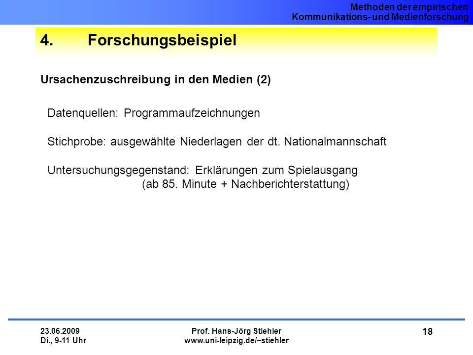 Methoden der empirischen Kommunikations- und Medienforschung 23.06.2009 Di., 9-11 Uhr Prof. Hans-Jörg Stiehler www.uni-leipzig.de/~stiehler 18 4.Forsc