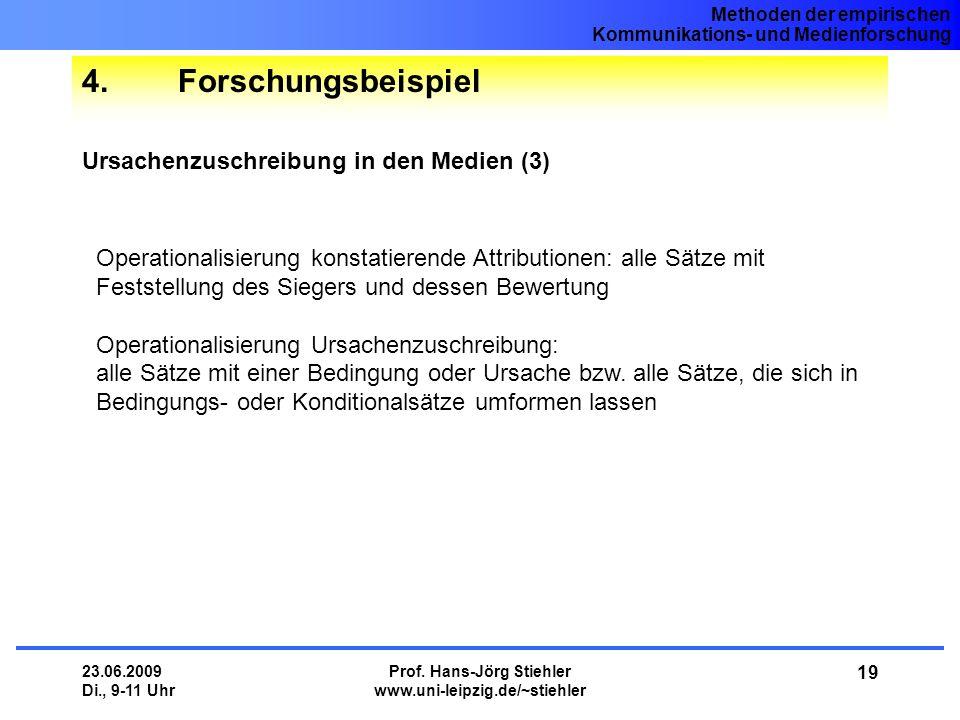 Methoden der empirischen Kommunikations- und Medienforschung 23.06.2009 Di., 9-11 Uhr Prof. Hans-Jörg Stiehler www.uni-leipzig.de/~stiehler 19 4.Forsc