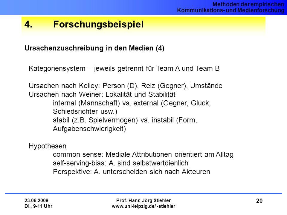 Methoden der empirischen Kommunikations- und Medienforschung 23.06.2009 Di., 9-11 Uhr Prof. Hans-Jörg Stiehler www.uni-leipzig.de/~stiehler 20 4.Forsc