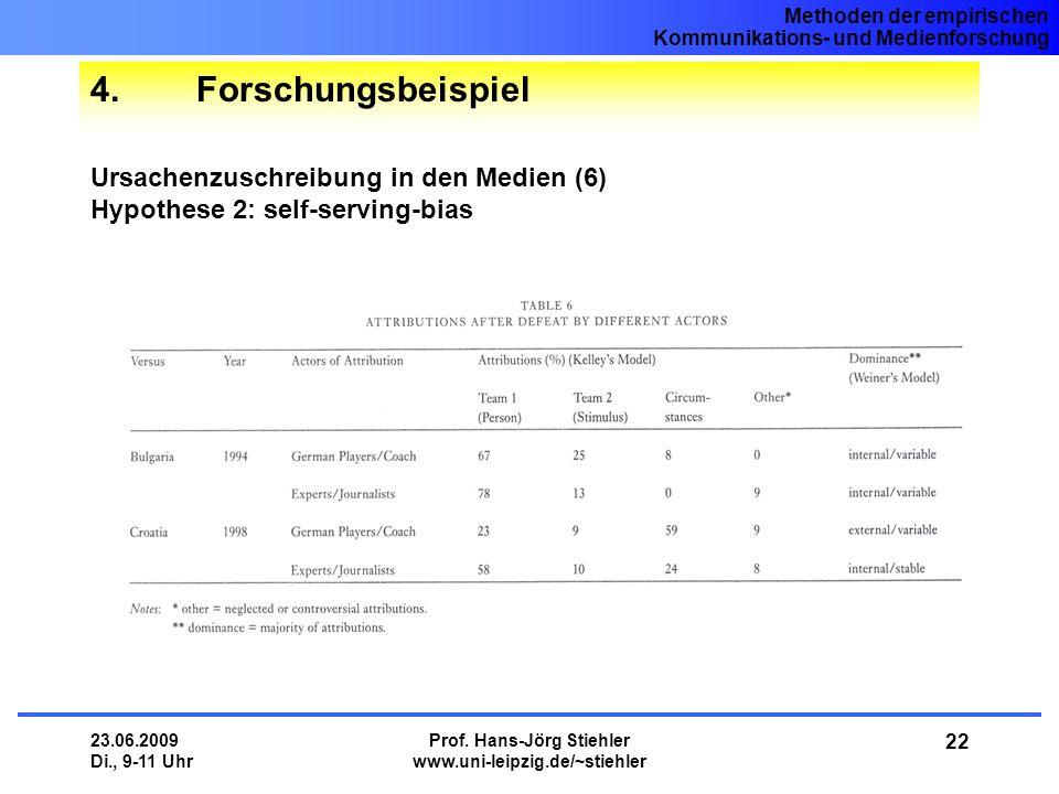 Methoden der empirischen Kommunikations- und Medienforschung 23.06.2009 Di., 9-11 Uhr Prof. Hans-Jörg Stiehler www.uni-leipzig.de/~stiehler 22 4.Forsc