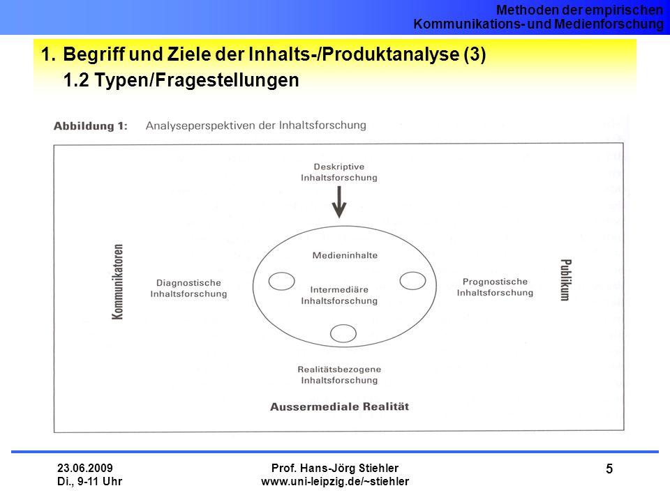 Methoden der empirischen Kommunikations- und Medienforschung 23.06.2009 Di., 9-11 Uhr Prof. Hans-Jörg Stiehler www.uni-leipzig.de/~stiehler 5 1.Begrif