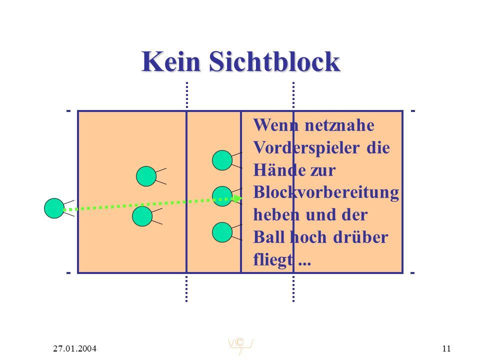 © 27.01.200411 Kein Sichtblock Wenn netznahe Vorderspieler die Hände zur Blockvorbereitung heben und der Ball hoch drüber fliegt...