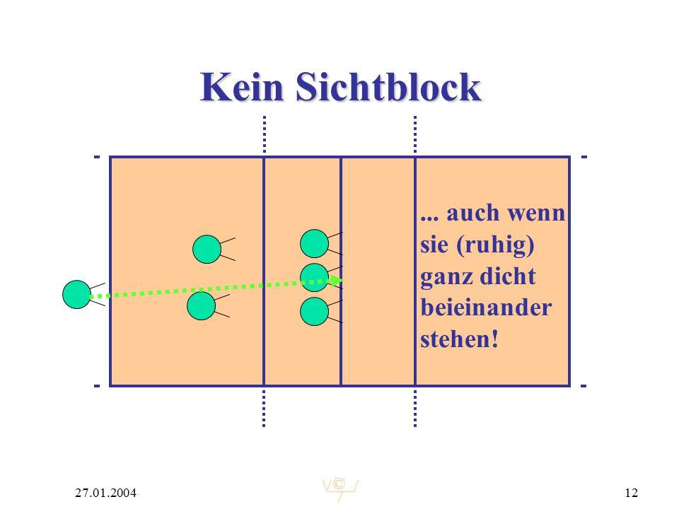 © 27.01.200412 Kein Sichtblock... auch wenn sie (ruhig) ganz dicht beieinander stehen!