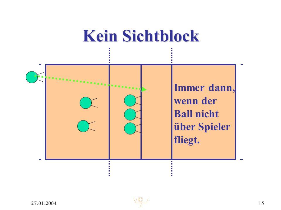 © 27.01.200415 Kein Sichtblock Immer dann, wenn der Ball nicht über Spieler fliegt.