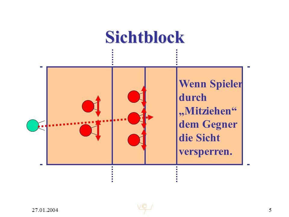 """© 27.01.20045 Sichtblock Wenn Spieler durch """"Mitziehen dem Gegner die Sicht versperren."""