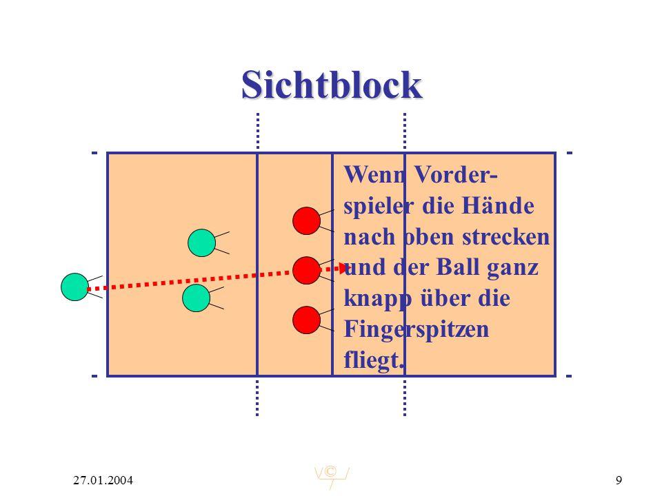 © 27.01.20049 Sichtblock Wenn Vorder- spieler die Hände nach oben strecken und der Ball ganz knapp über die Fingerspitzen fliegt.