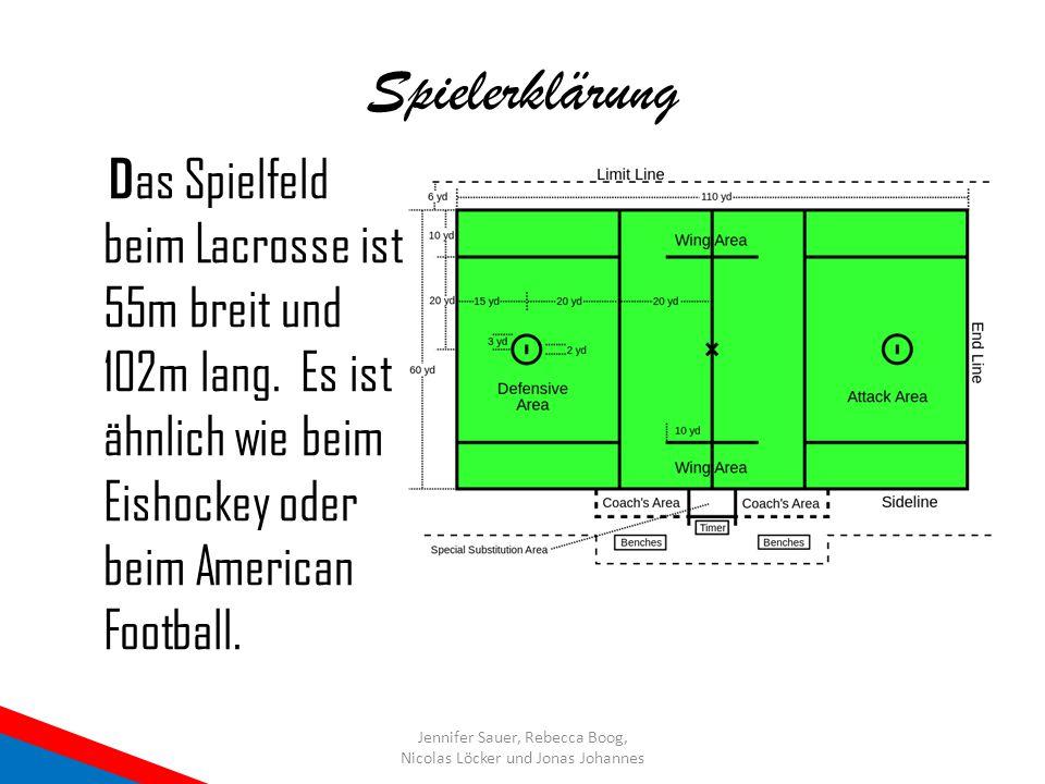 Spielerklärung D as Spielfeld beim Lacrosse ist 55m breit und 102m lang. Es ist ähnlich wie beim Eishockey oder beim American Football. Jennifer Sauer