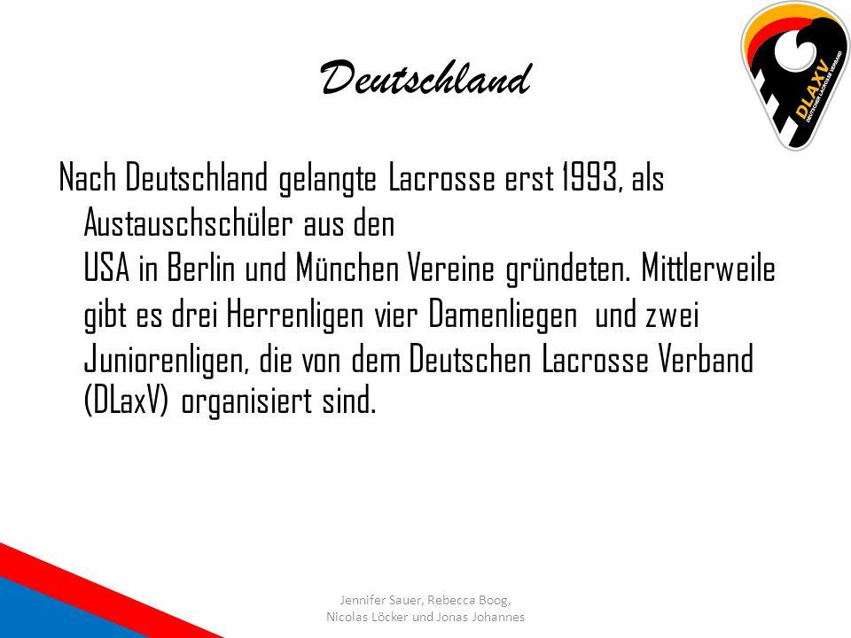 Deutschland Nach Deutschland gelangte Lacrosse erst 1993, als Austauschschüler aus den USA in Berlin und München Vereine gründeten. Mittlerweile gibt