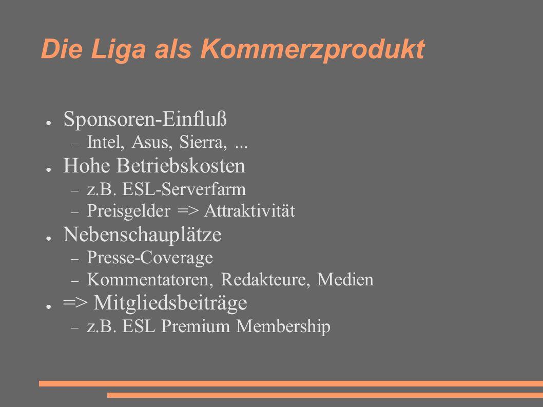 Die Liga als Kommerzprodukt ● Sponsoren-Einfluß  Intel, Asus, Sierra,...