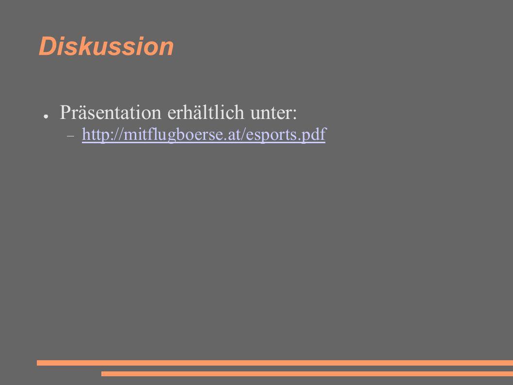 Diskussion ● Präsentation erhältlich unter:  http://mitflugboerse.at/esports.pdf http://mitflugboerse.at/esports.pdf