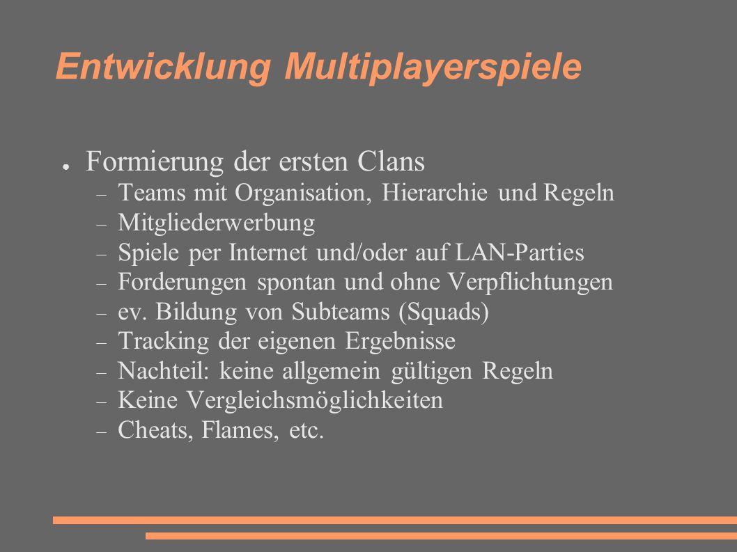 Entwicklung Multiplayerspiele ● Formierung der ersten Clans  Teams mit Organisation, Hierarchie und Regeln  Mitgliederwerbung  Spiele per Internet und/oder auf LAN-Parties  Forderungen spontan und ohne Verpflichtungen  ev.