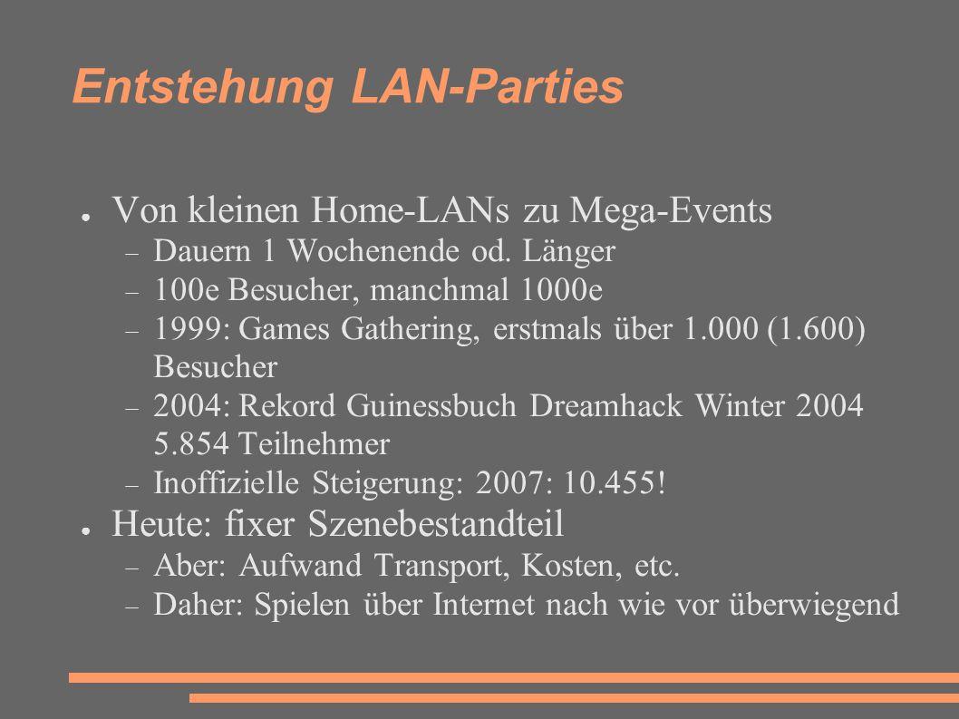 Entstehung LAN-Parties ● Von kleinen Home-LANs zu Mega-Events  Dauern 1 Wochenende od.