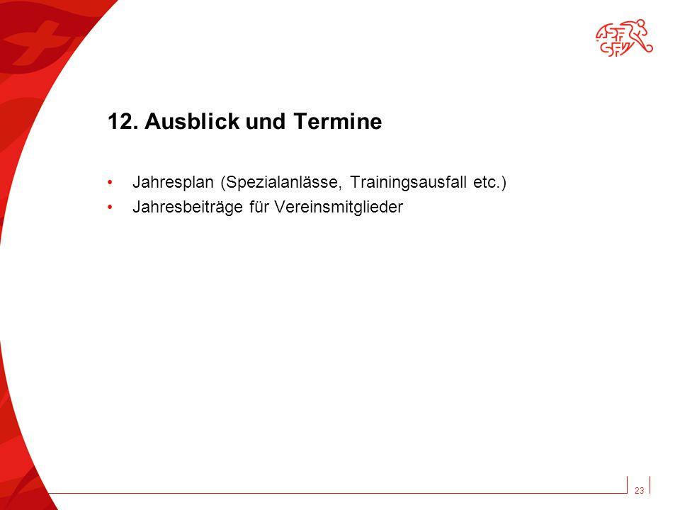 12. Ausblick und Termine Jahresplan (Spezialanlässe, Trainingsausfall etc.) Jahresbeiträge für Vereinsmitglieder 23