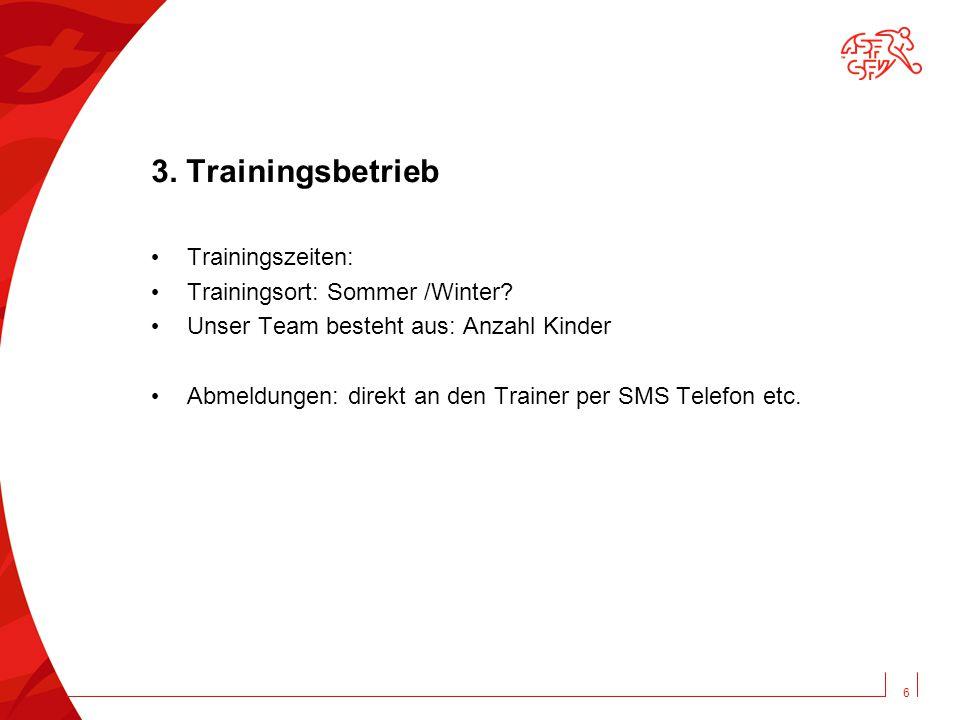 3.Trainingsbetrieb Trainingszeiten: Trainingsort: Sommer /Winter.
