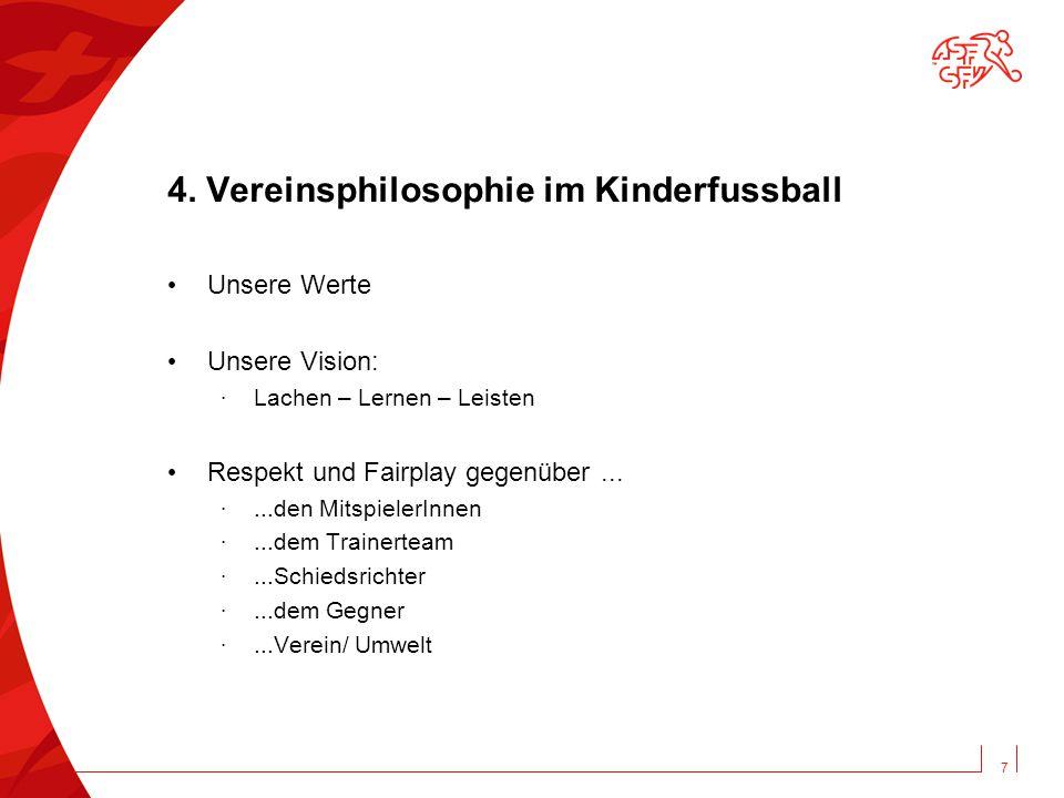 4. Vereinsphilosophie im Kinderfussball Unsere Werte Unsere Vision: · Lachen – Lernen – Leisten Respekt und Fairplay gegenüber... ·...den MitspielerIn