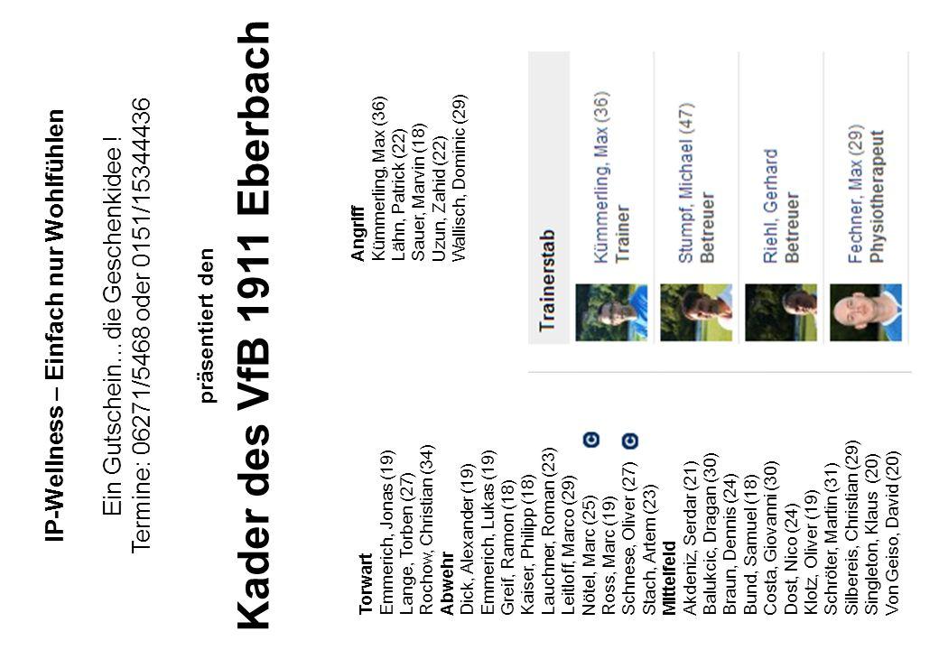 IP-Wellness – Einfach nur Wohlfühlen Ein Gutschein…die Geschenkidee ! Termine: 06271/5468 oder 0151/15344436 präsentiert den Kader des VfB 1911 Eberba