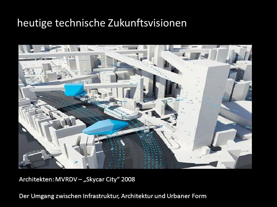 """heutige technische Zukunftsvisionen Architekten: MVRDV – """"Skycar City 2008 Der Umgang zwischen Infrastruktur, Architektur und Urbaner Form"""