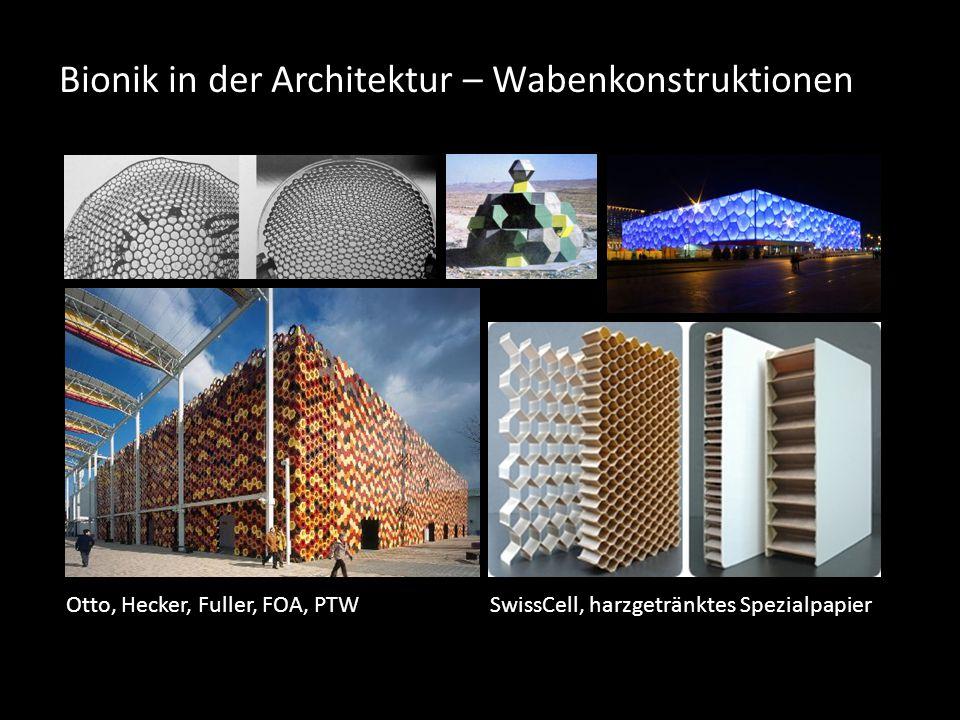 Bionik in der Architektur – Wabenkonstruktionen Otto, Hecker, Fuller, FOA, PTWSwissCell, harzgetränktes Spezialpapier