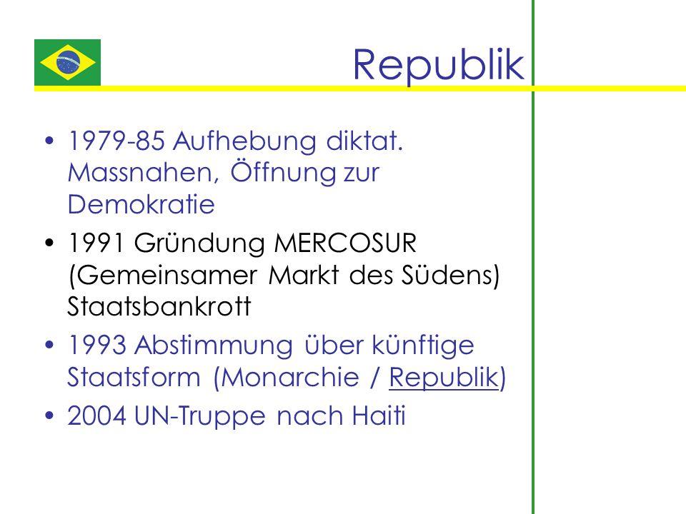 Republik 1979-85 Aufhebung diktat. Massnahen, Öffnung zur Demokratie 1991 Gründung MERCOSUR (Gemeinsamer Markt des Südens) Staatsbankrott 1993 Abstimm