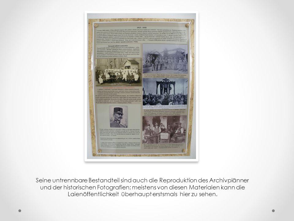 Die Tafel sind thematisch zusammengestellt – z. B. der K.u.k. Reservespital Pisek, die Kriegsgefangene in der Stadt, etwas über Militärbegräbnissen, d