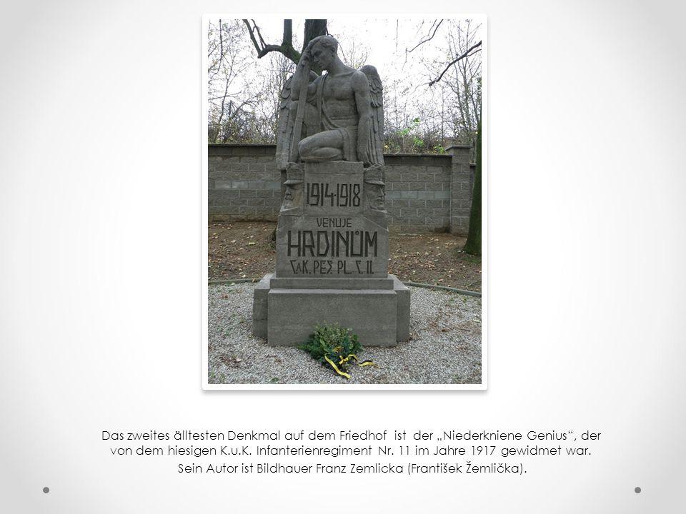 """Das zweites älltesten Denkmal auf dem Friedhof ist der """"Niederkniene Genius , der von dem hiesigen K.u.K."""
