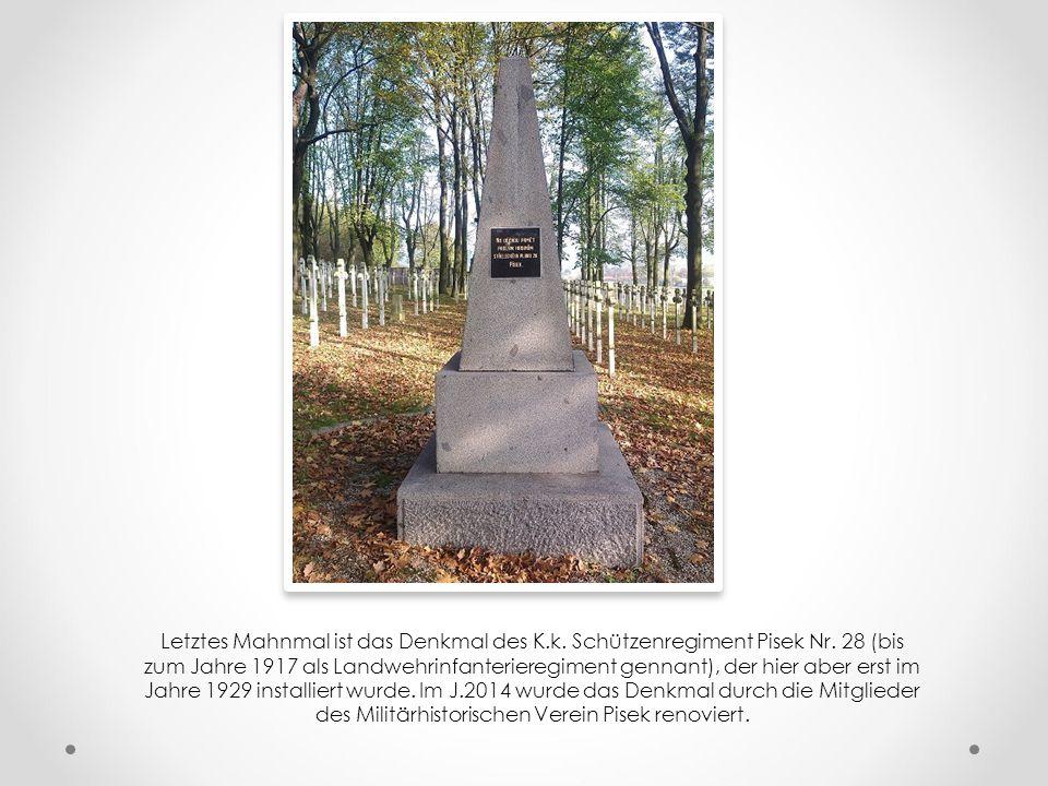 """Das zweites älltesten Denkmal auf dem Friedhof ist der """"Niederkniene Genius"""", der von dem hiesigen K.u.K. Infanterienregiment Nr. 11 im Jahre 1917 gew"""