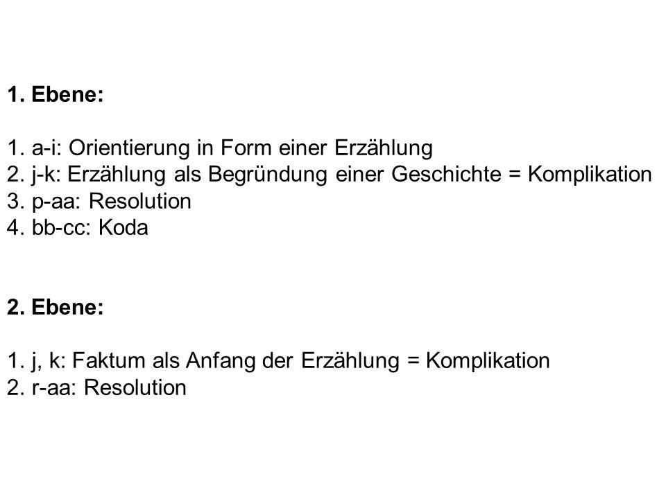 1. Ebene: 1.a-i: Orientierung in Form einer Erzählung 2.j-k: Erzählung als Begründung einer Geschichte = Komplikation 3.p-aa: Resolution 4.bb-cc: Koda