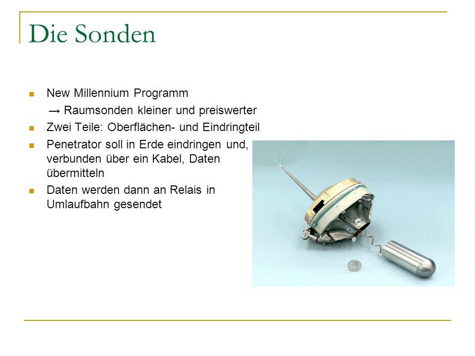 Die Sonden New Millennium Programm → Raumsonden kleiner und preiswerter Zwei Teile: Oberflächen- und Eindringteil Penetrator soll in Erde eindringen und, verbunden über ein Kabel, Daten übermitteln Daten werden dann an Relais in Umlaufbahn gesendet