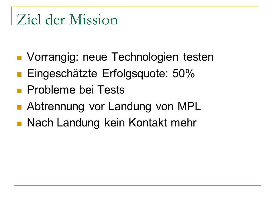 Ziel der Mission Vorrangig: neue Technologien testen Eingeschätzte Erfolgsquote: 50% Probleme bei Tests Abtrennung vor Landung von MPL Nach Landung ke
