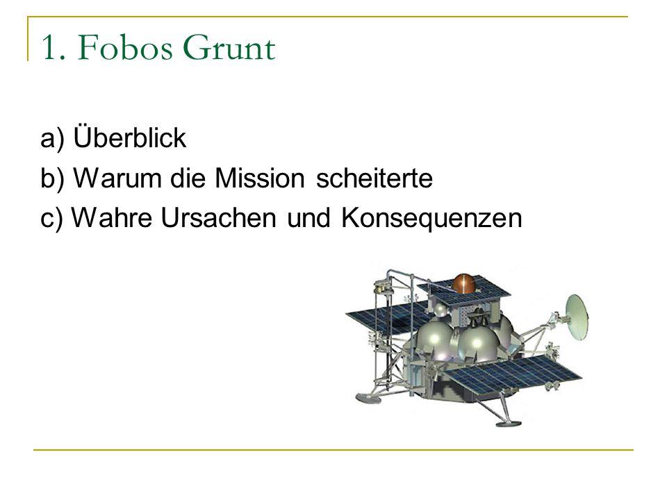 1. Fobos Grunt a) Überblick b) Warum die Mission scheiterte c) Wahre Ursachen und Konsequenzen