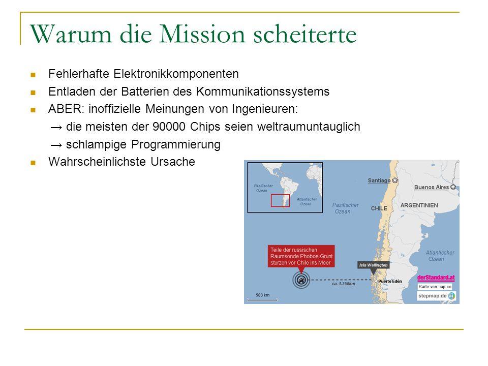Warum die Mission scheiterte Fehlerhafte Elektronikkomponenten Entladen der Batterien des Kommunikationssystems ABER: inoffizielle Meinungen von Ingen