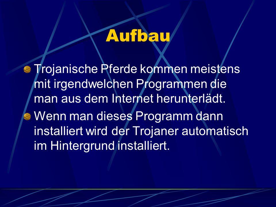 Wirkungsweise Die Trojaner spionieren Internetdaten der Benutzer aus.