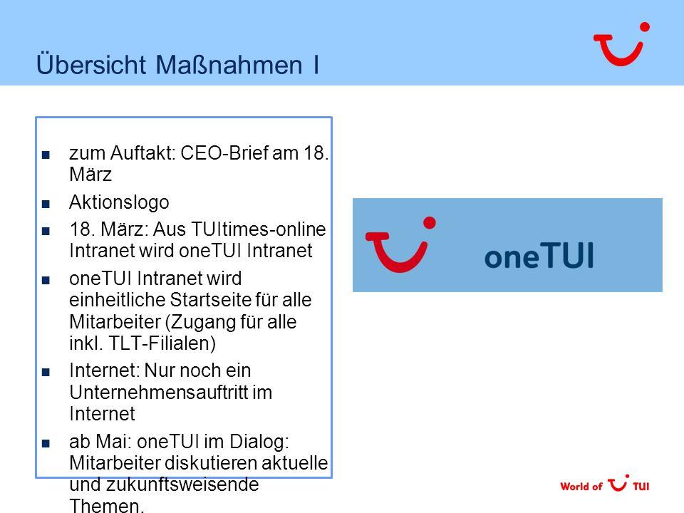 Übersicht Maßnahmen I zum Auftakt: CEO-Brief am 18.