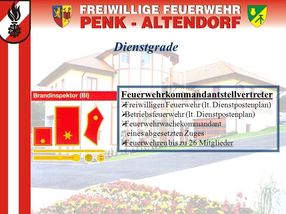 Dienstgrade Feuerwehrkommandantstellvertreter  Freiwilligen Feuerwehr (lt. Dienstpostenplan)  Betriebsfeuerwehr (lt. Dienstpostenplan)  Feuerwehrwa