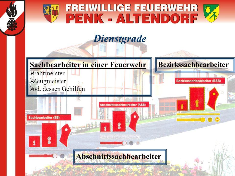 Dienstgrade Sachbearbeiter in einer Feuerwehr  Fahrmeister  Zeugmeister  od. dessen Gehilfen Abschnittssachbearbeiter Bezirkssachbearbeiter