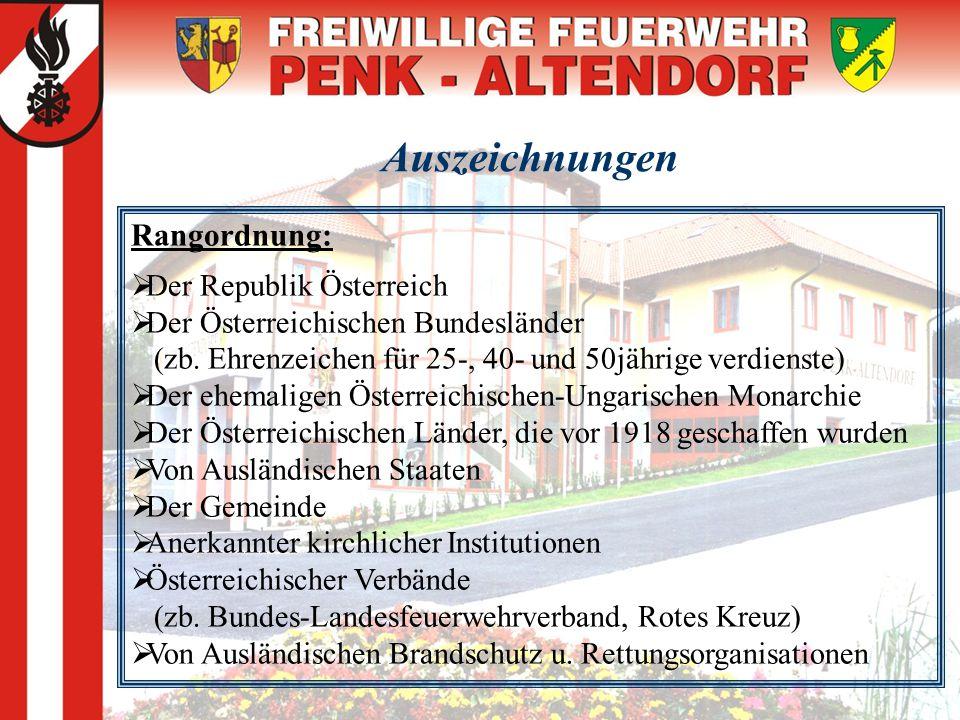 Auszeichnungen Rangordnung: DD er Republik Österreich DD er Österreichischen Bundesländer (zb. Ehrenzeichen für 25-, 40- und 50jährige verdienste)