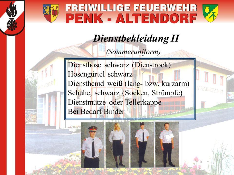 Dienstbekleidung II (Sommeruniform) Diensthose schwarz (Dienstrock) Hosengürtel schwarz Diensthemd weiß (lang- bzw. kurzarm) Schuhe, schwarz (Socken,