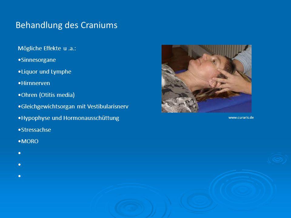 Behandlung des Craniums www.curaris.de Mögliche Effekte u.a.: Sinnesorgane Liquor und Lymphe Hirnnerven Ohren (Otitis media) Gleichgewichtsorgan mit V