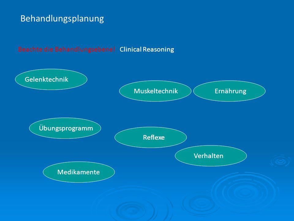 Behandlungsplanung Beachte die Behandlungsebene! Clinical Reasoning Gelenktechnik Muskeltechnik Übungsprogramm Reflexe Ernährung Verhalten Medikamente